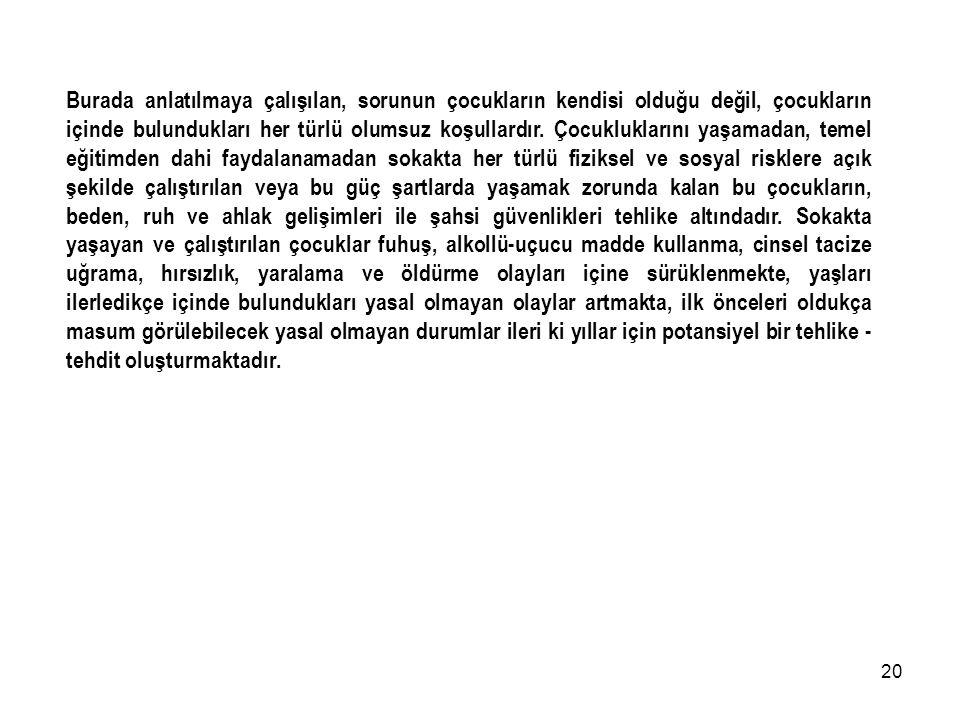 19 Uygulama Planı ve Talimatı (2000/1 Sayılı Güvenlik Kararı) a. Başlangıç: İstanbul Valiliğinin ''Sokakta Yaşayan veya Sokakta Çalıştırılan Çocukları