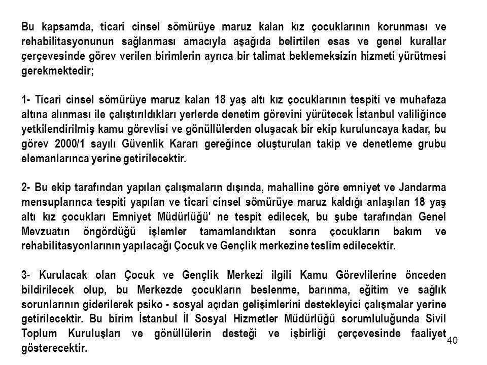 39 2000/1 SAYILI GÜVENLİK KARARI EK TALİMATI İstanbul Valiliğince '' Sokakta Yaşayan ve Sokakta Çalıştırılan Çocukların Korunması Suretiyle Kamu Esenl