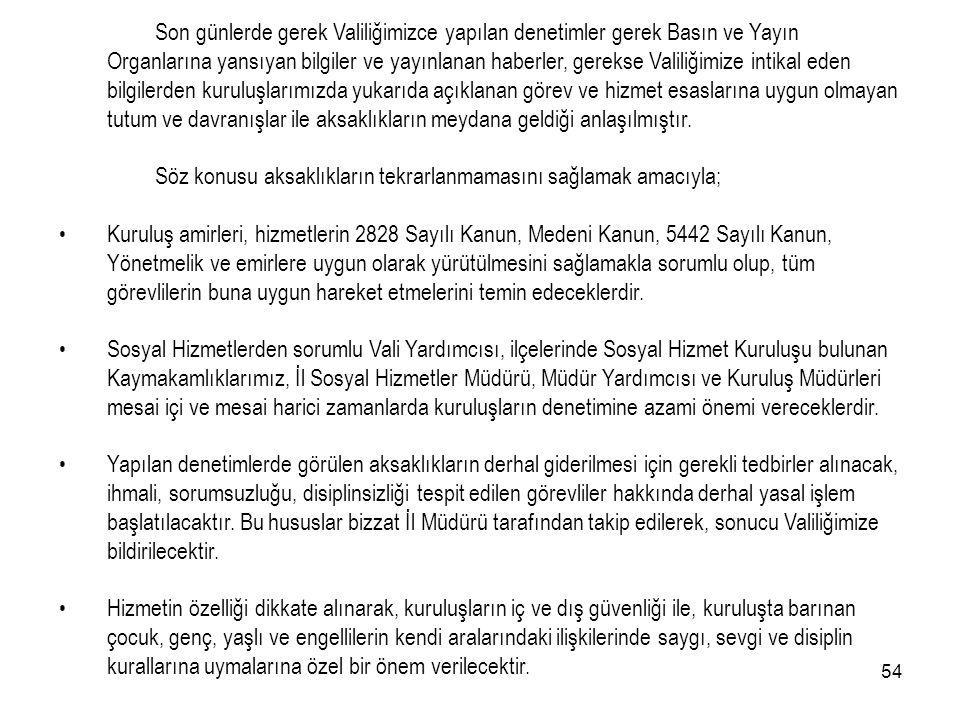 53 T.C. İSTANBUL VALİLİĞİ İl Yazı İşleri Müdürlüğü SAYI:B054VLK4340300Ya.İş.06(İşl.02)1/B-714 30 /04/2004 KONU : Sosyal Hizmet Kuruluşları Sosyal Hizm