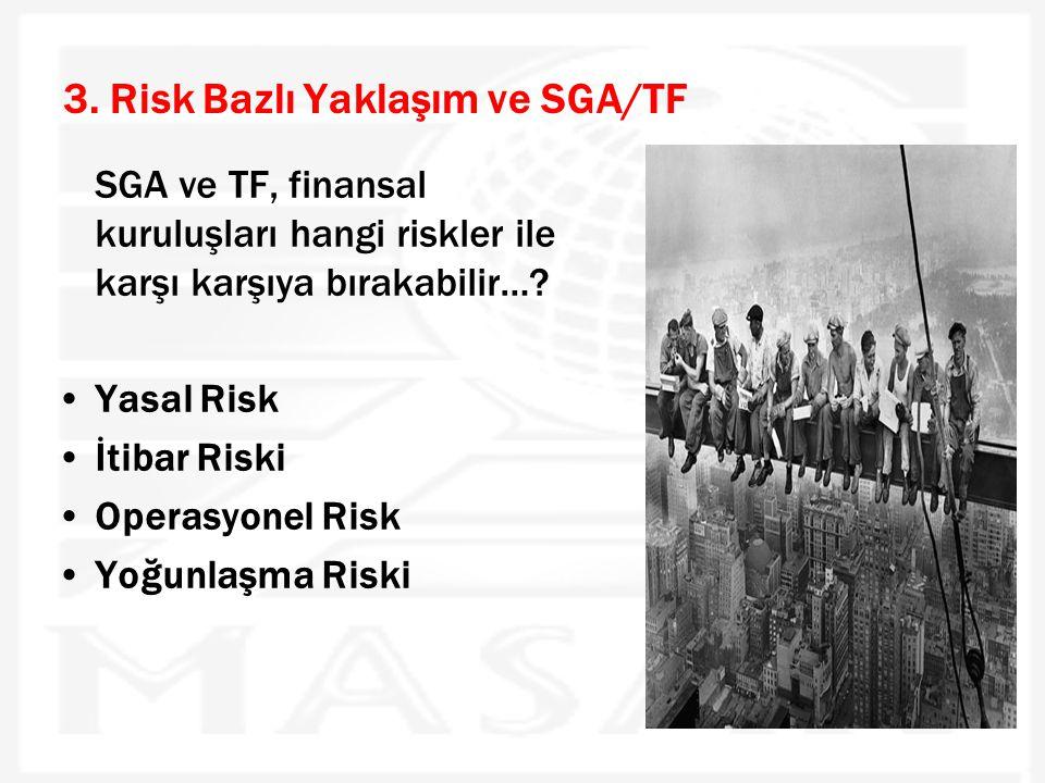 3. Risk Bazlı Yaklaşım ve SGA/TF SGA ve TF, finansal kuruluşları hangi riskler ile karşı karşıya bırakabilir…? •Yasal Risk •İtibar Riski •Operasyonel