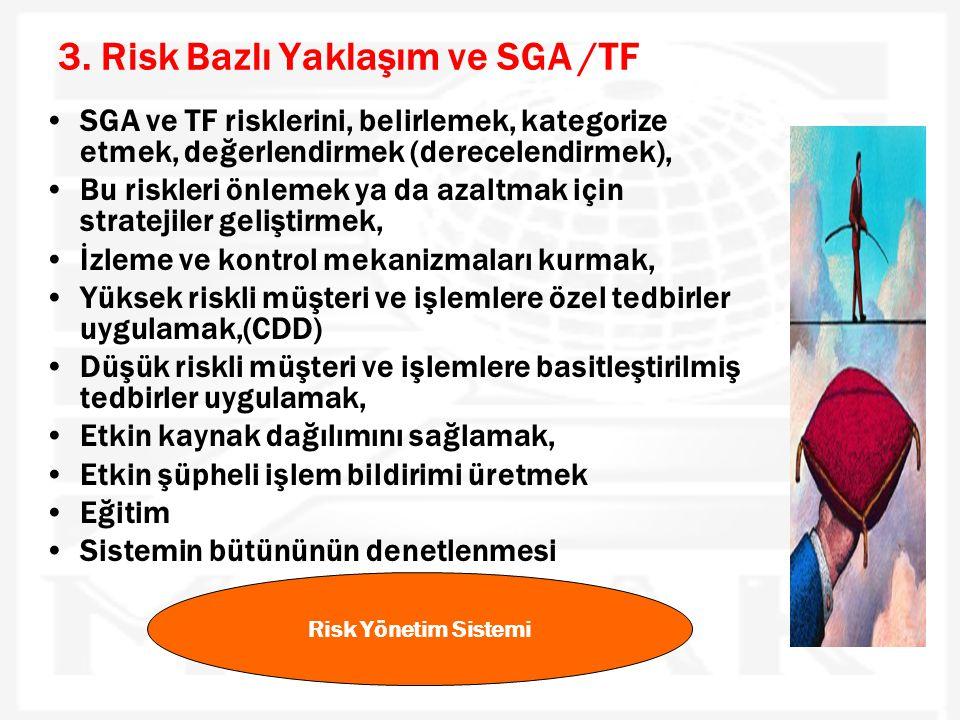 3. Risk Bazlı Yaklaşım ve SGA /TF •SGA ve TF risklerini, belirlemek, kategorize etmek, değerlendirmek (derecelendirmek), •Bu riskleri önlemek ya da az