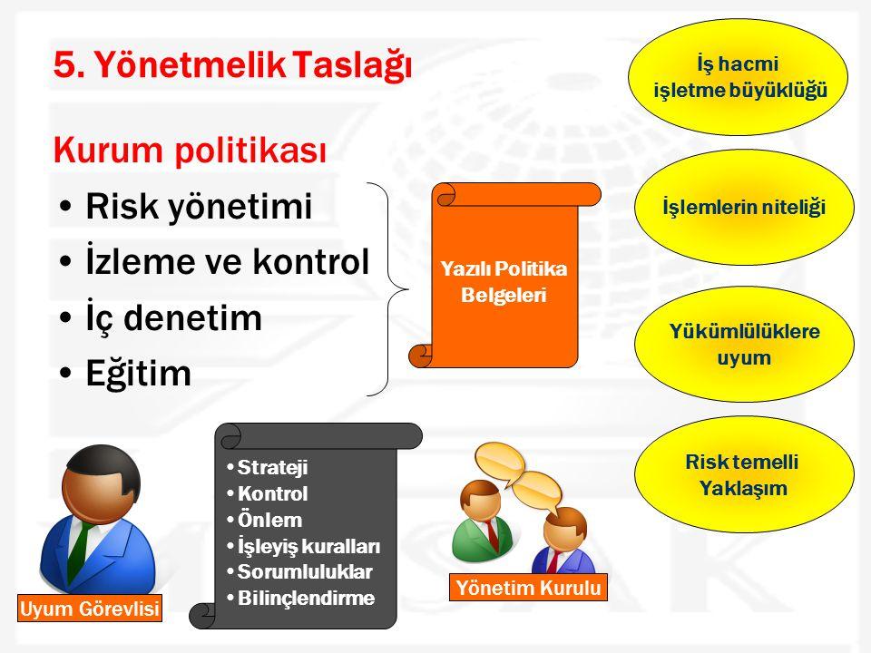 5. Yönetmelik Taslağı Kurum politikası •Risk yönetimi •İzleme ve kontrol •İç denetim •Eğitim Yazılı Politika Belgeleri İş hacmi işletme büyüklüğü İşle