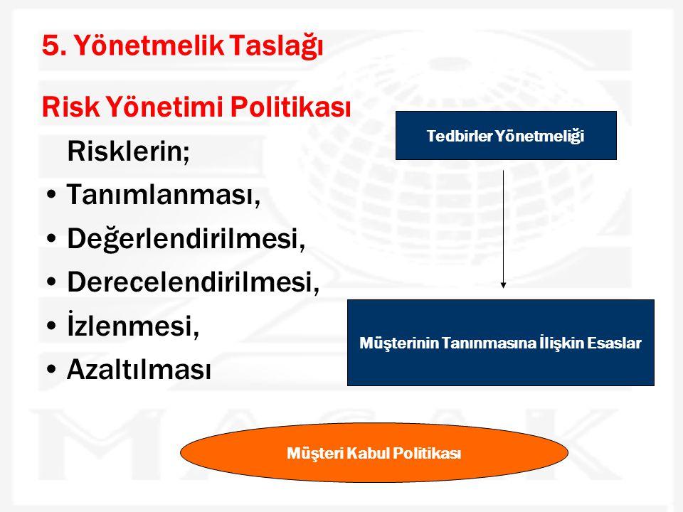 5. Yönetmelik Taslağı Risk Yönetimi Politikası Risklerin; •Tanımlanması, •Değerlendirilmesi, •Derecelendirilmesi, •İzlenmesi, •Azaltılması Tedbirler Y