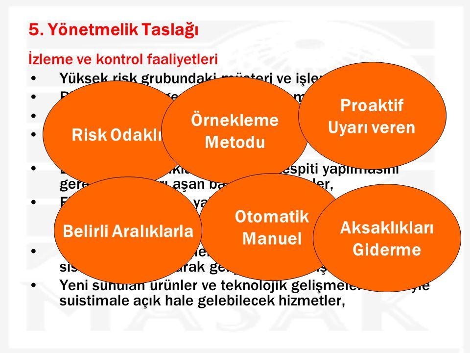 5. Yönetmelik Taslağı İzleme ve kontrol faaliyetleri •Yüksek risk grubundaki müşteri ve işlemler, •Riskli ülkelerle gerçekleştirilen işlemler, •Karmaş