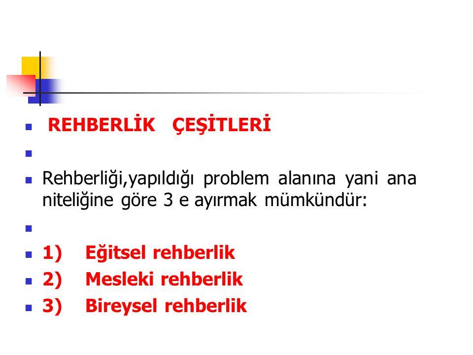  REHBERLİK ÇEŞİTLERİ   Rehberliği,yapıldığı problem alanına yani ana niteliğine göre 3 e ayırmak mümkündür:   1) Eğitsel rehberlik  2) Mesleki r