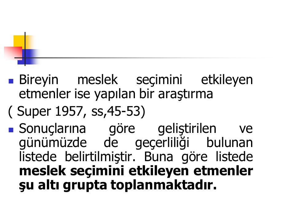  Bireyin meslek seçimini etkileyen etmenler ise yapılan bir araştırma ( Super 1957, ss,45-53)  Sonuçlarına göre geliştirilen ve günümüzde de geçerli