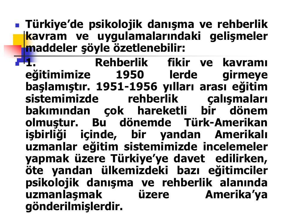  Türkiye'de psikolojik danışma ve rehberlik kavram ve uygulamalarındaki gelişmeler maddeler şöyle özetlenebilir:  1. Rehberlik fikir ve kavramı eğit