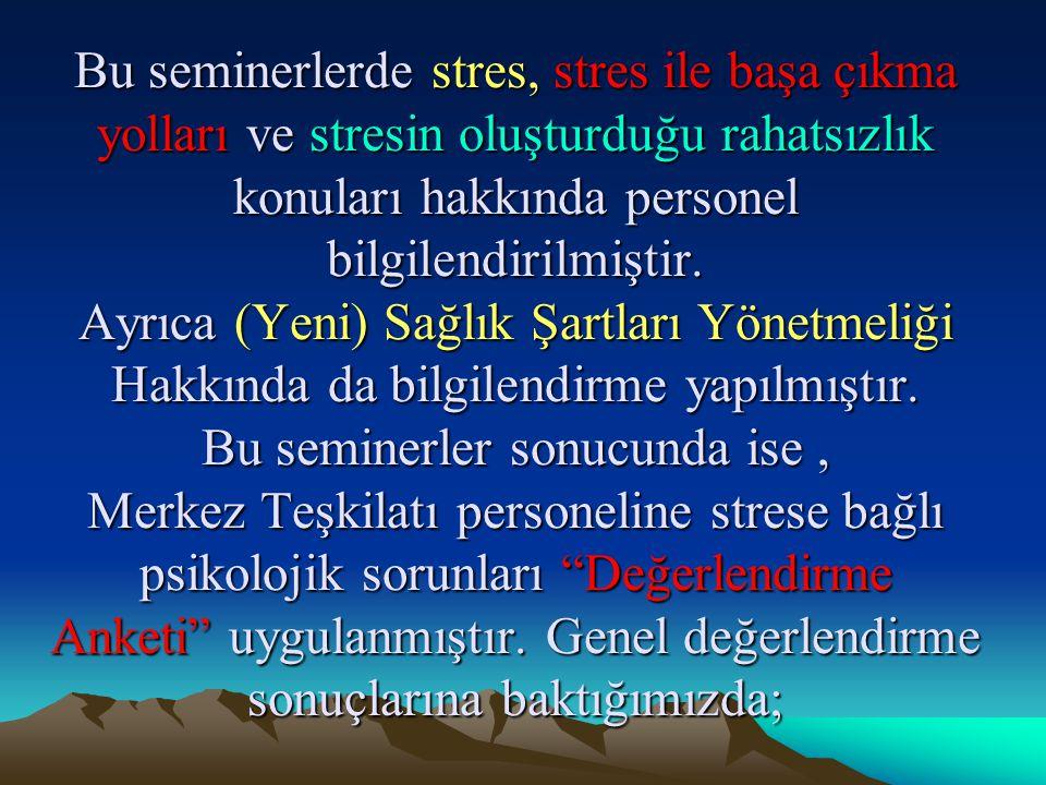 Bu seminerlerde stres, stres ile başa çıkma yolları ve stresin oluşturduğu rahatsızlık konuları hakkında personel bilgilendirilmiştir. Ayrıca (Yeni) S
