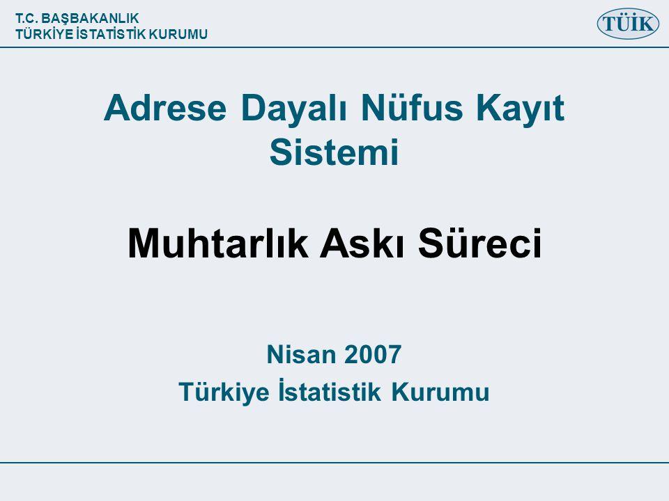 T.C. BAŞBAKANLIK TÜRKİYE İSTATİSTİK KURUMU Adrese Dayalı Nüfus Kayıt Sistemi Muhtarlık Askı Süreci Nisan 2007 Türkiye İstatistik Kurumu