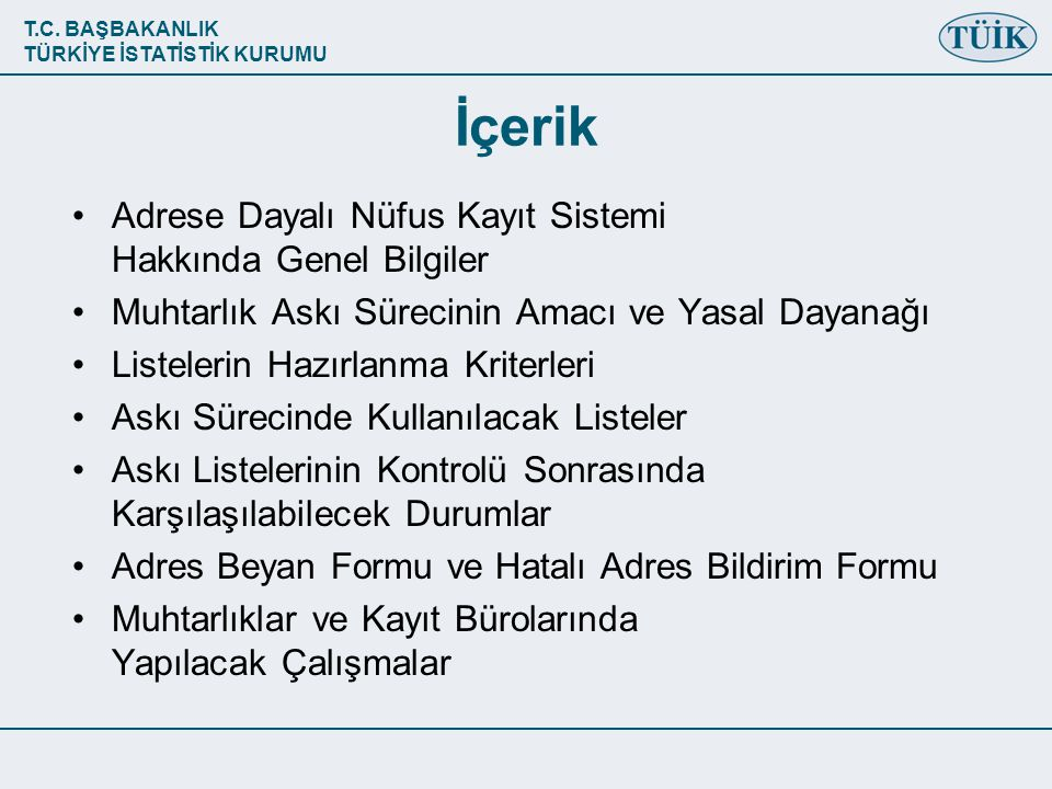 T.C.BAŞBAKANLIK TÜRKİYE İSTATİSTİK KURUMU DİKKAT.