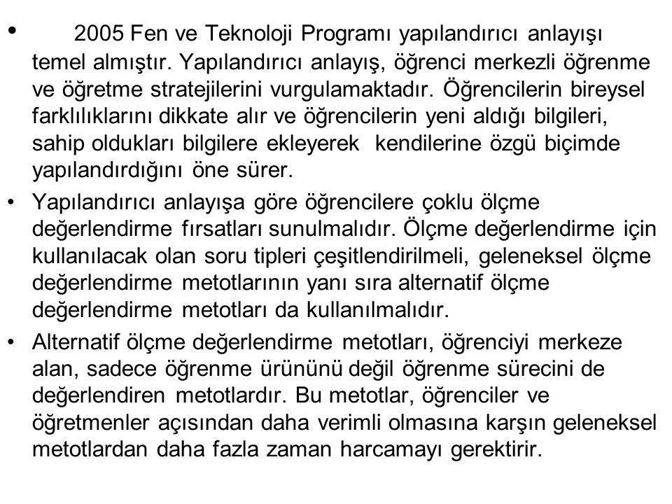 • 2005 Fen ve Teknoloji Programı yapılandırıcı anlayışı temel almıştır. Yapılandırıcı anlayış, öğrenci merkezli öğrenme ve öğretme stratejilerini vurg