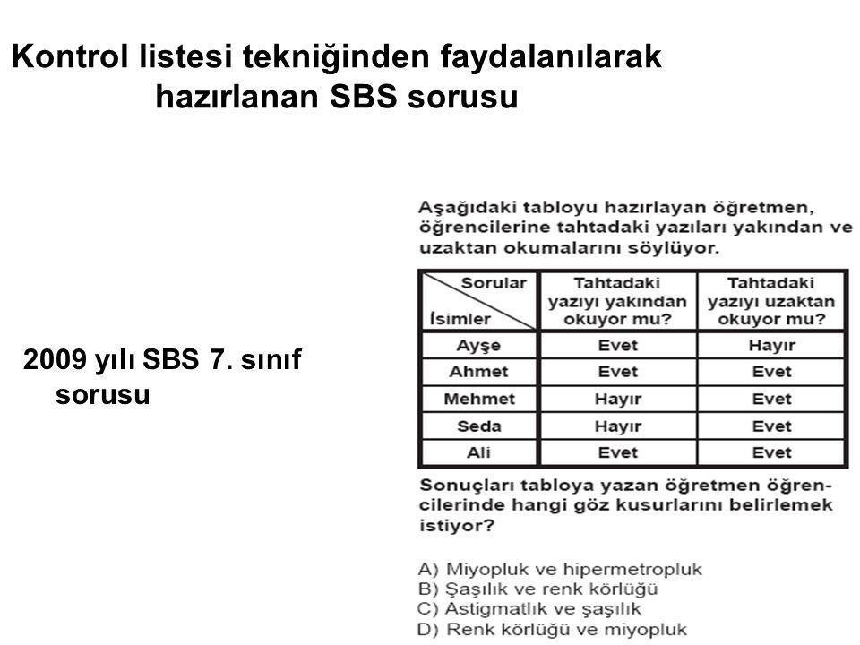 Kontrol listesi tekniğinden faydalanılarak hazırlanan SBS sorusu 2009 yılı SBS 7. sınıf sorusu