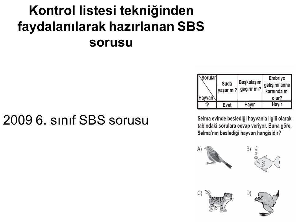 Kontrol listesi tekniğinden faydalanılarak hazırlanan SBS sorusu 2009 6. sınıf SBS sorusu