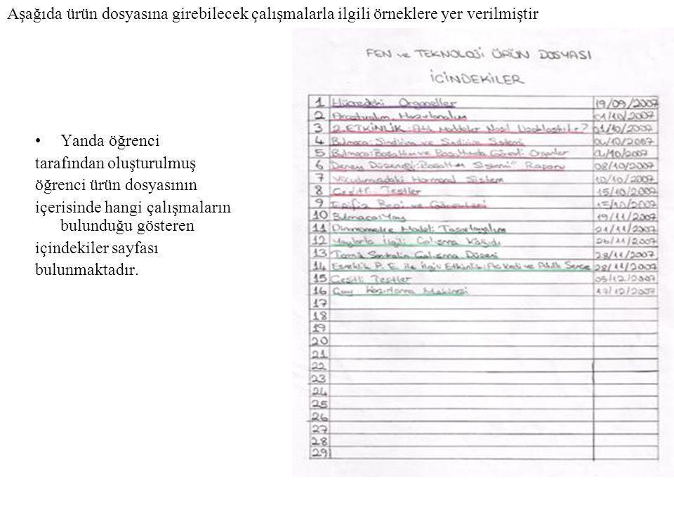 Aşağıda ürün dosyasına girebilecek çalışmalarla ilgili örneklere yer verilmiştir •Yanda öğrenci tarafından oluşturulmuş öğrenci ürün dosyasının içeris