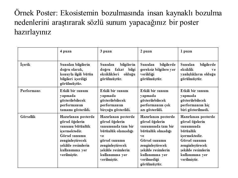 Örnek Poster: Ekosistemin bozulmasında insan kaynaklı bozulma nedenlerini araştırarak sözlü sunum yapacağınız bir poster hazırlayınız 4 puan3 puan2 pu