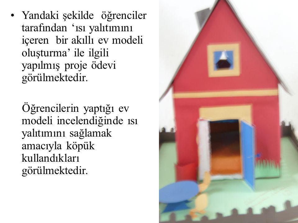 •Yandaki şekilde öğrenciler tarafından 'ısı yalıtımını içeren bir akıllı ev modeli oluşturma' ile ilgili yapılmış proje ödevi görülmektedir. Öğrencile