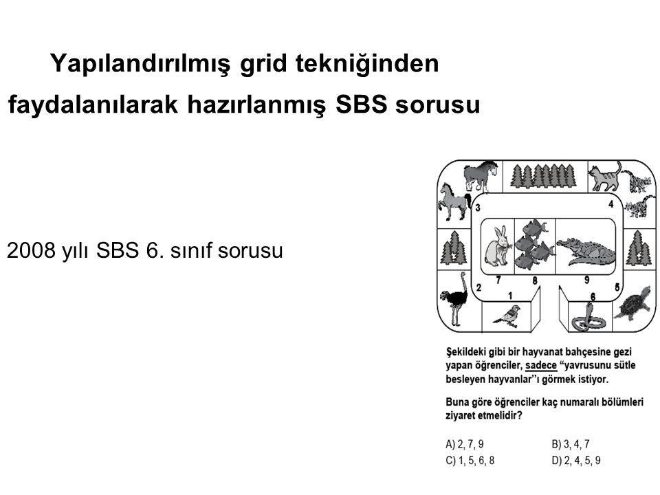 Yapılandırılmış grid tekniğinden faydalanılarak hazırlanmış SBS sorusu 2008 yılı SBS 6. sınıf sorusu