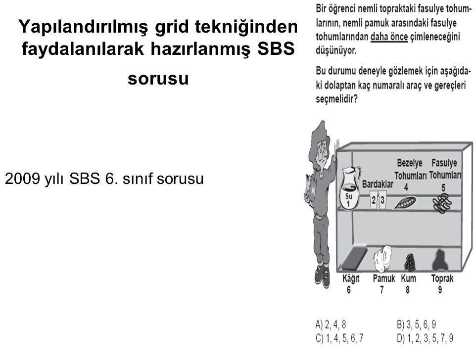 Yapılandırılmış grid tekniğinden faydalanılarak hazırlanmış SBS sorusu 2009 yılı SBS 6. sınıf sorusu