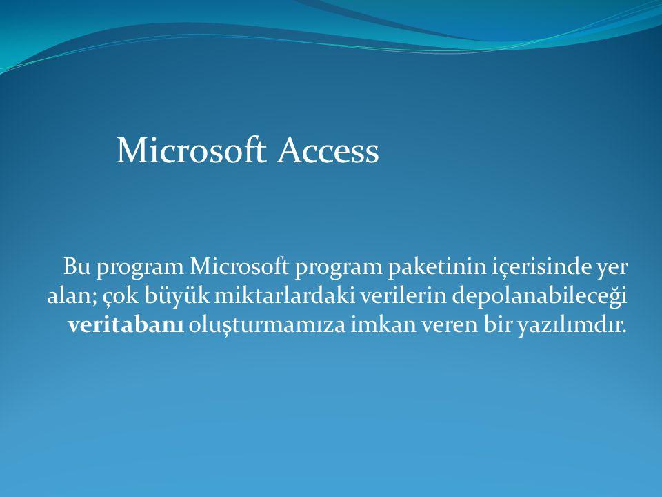 Microsoft Access Bu program Microsoft program paketinin içerisinde yer alan; çok büyük miktarlardaki verilerin depolanabileceği veritabanı oluşturmamı