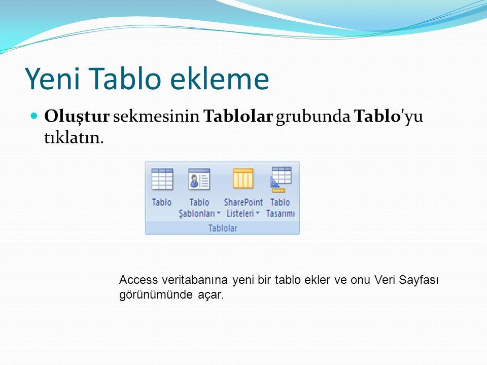 Yeni Tablo ekleme  Oluştur sekmesinin Tablolar grubunda Tablo'yu tıklatın. Access veritabanına yeni bir tablo ekler ve onu Veri Sayfası görünümünde a