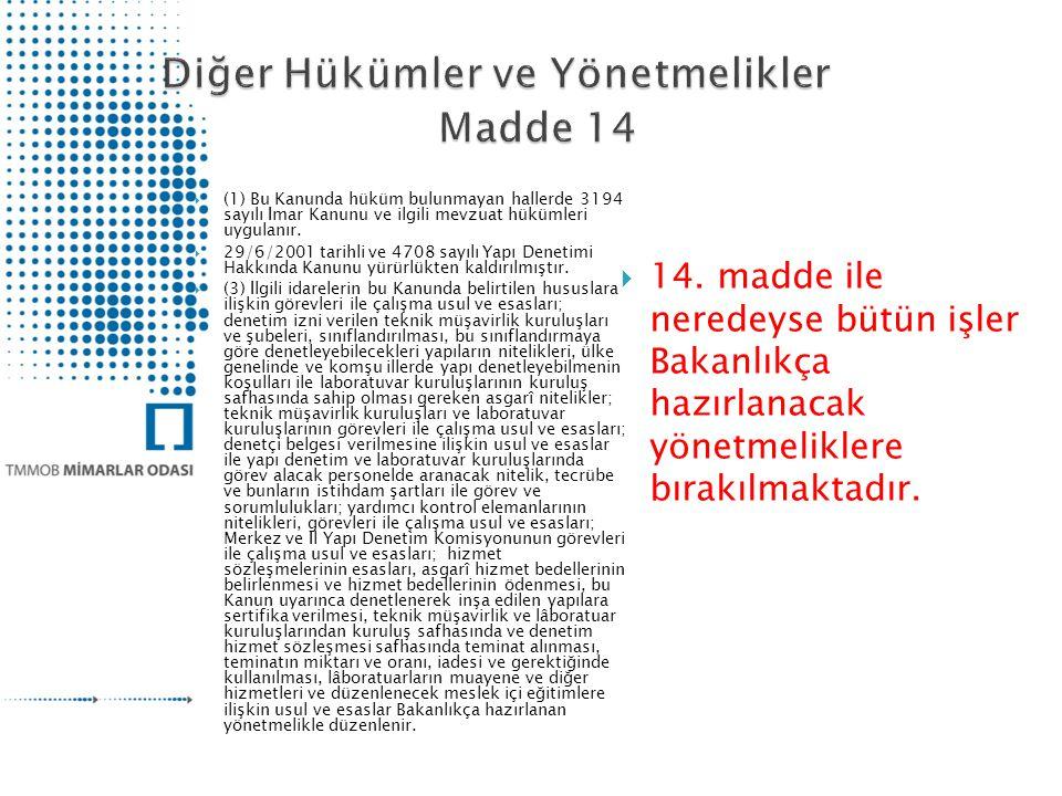  (1) Bu Kanunda hüküm bulunmayan hallerde 3194 sayılı İmar Kanunu ve ilgili mevzuat hükümleri uygulanır.  29/6/2001 tarihli ve 4708 sayılı Yapı Dene