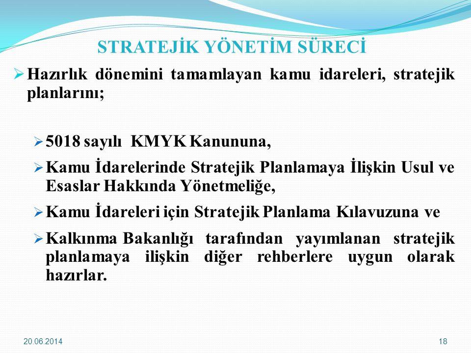 20.06.201418 STRATEJİK YÖNETİM SÜRECİ  Hazırlık dönemini tamamlayan kamu idareleri, stratejik planlarını;  5018 sayılı KMYK Kanununa,  Kamu İdarele
