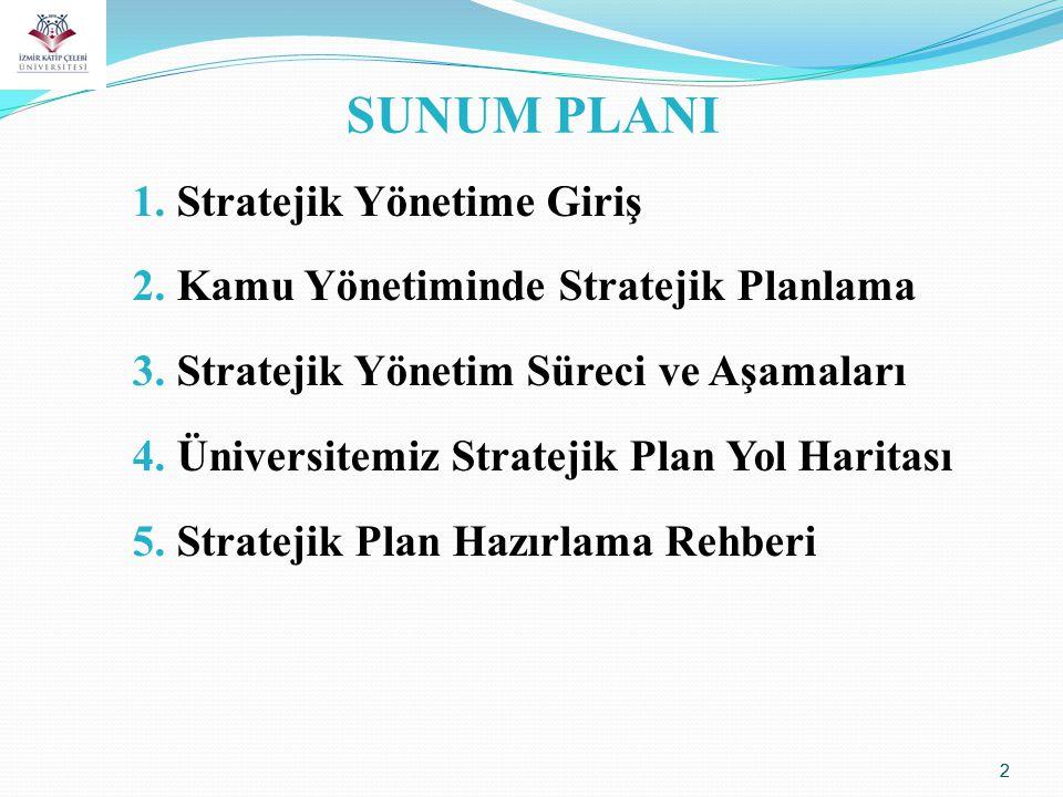 2 SUNUM PLANI 1. Stratejik Yönetime Giriş 2. Kamu Yönetiminde Stratejik Planlama 3. Stratejik Yönetim Süreci ve Aşamaları 4. Üniversitemiz Stratejik P
