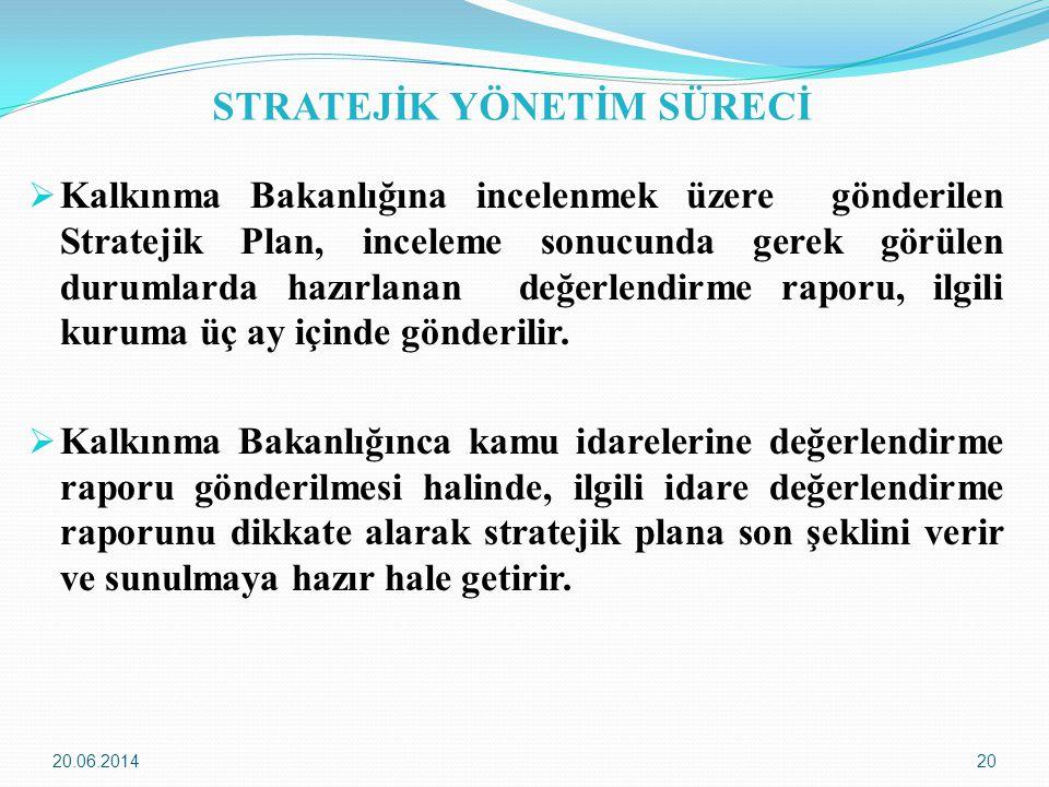 20.06.201420 STRATEJİK YÖNETİM SÜRECİ  Kalkınma Bakanlığına incelenmek üzere gönderilen Stratejik Plan, inceleme sonucunda gerek görülen durumlarda h