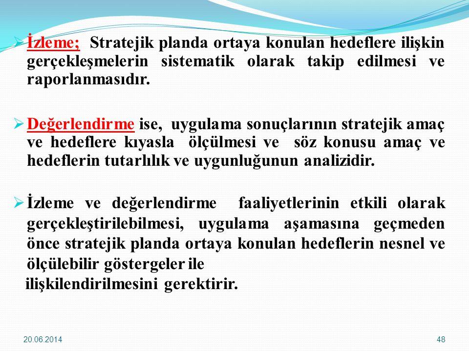 20.06.201448  İzleme; Stratejik planda ortaya konulan hedeflere ilişkin gerçekleşmelerin sistematik olarak takip edilmesi ve raporlanmasıdır.  Değer