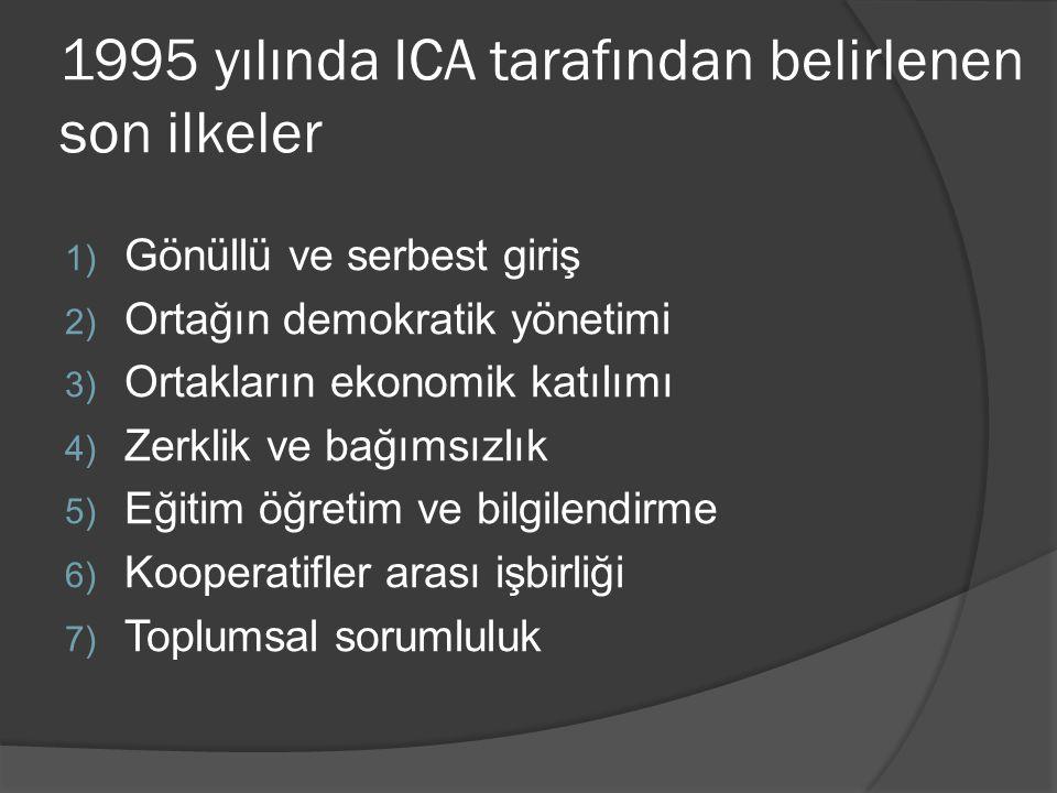 1995 yılında ICA tarafından belirlenen son ilkeler 1) Gönüllü ve serbest giriş 2) Ortağın demokratik yönetimi 3) Ortakların ekonomik katılımı 4) Zerkl