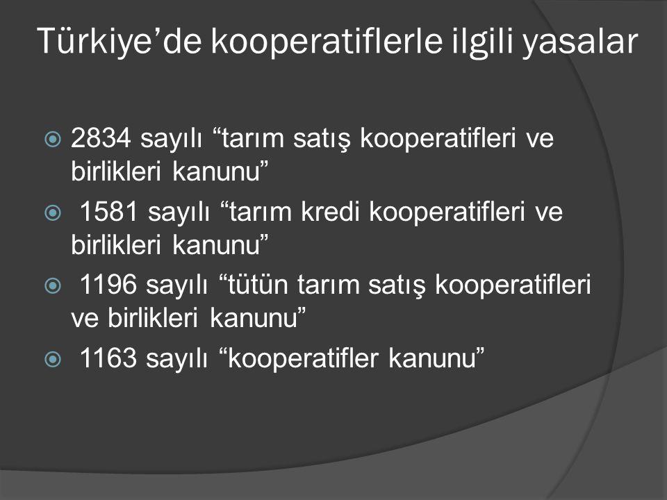 """Türkiye'de kooperatiflerle ilgili yasalar  2834 sayılı """"tarım satış kooperatifleri ve birlikleri kanunu""""  1581 sayılı """"tarım kredi kooperatifleri ve"""