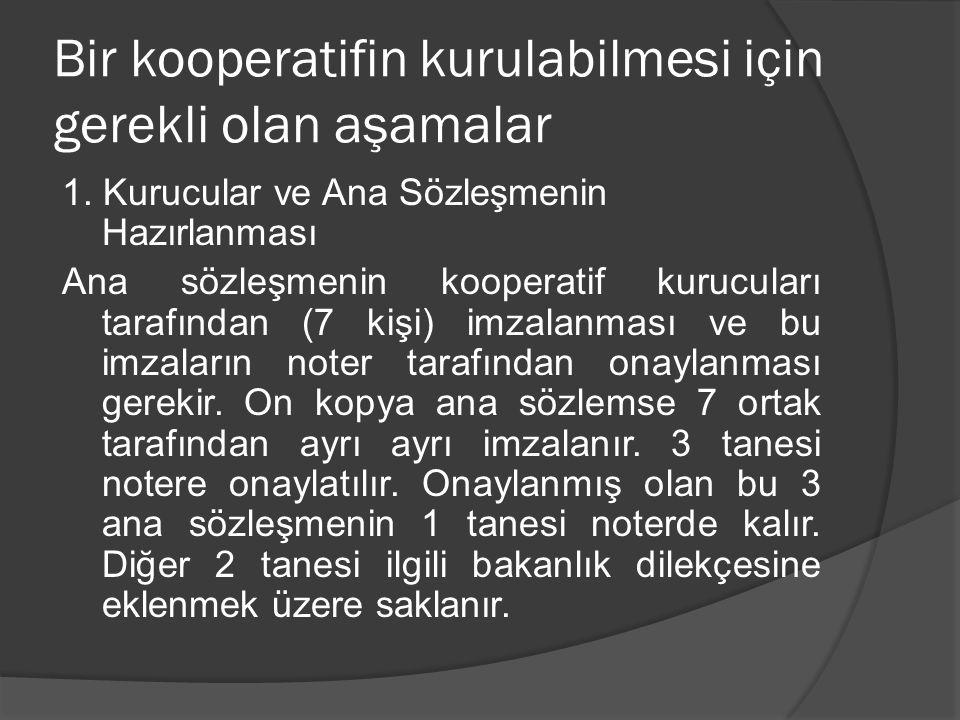 Bir kooperatifin kurulabilmesi için gerekli olan aşamalar 1. Kurucular ve Ana Sözleşmenin Hazırlanması Ana sözleşmenin kooperatif kurucuları tarafında