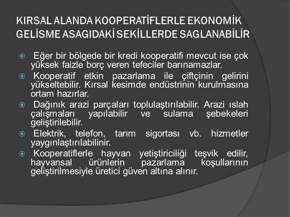 1995 yılında ICA tarafından belirlenen son ilkeler 1) Gönüllü ve serbest giriş 2) Ortağın demokratik yönetimi 3) Ortakların ekonomik katılımı 4) Zerklik ve bağımsızlık 5) Eğitim öğretim ve bilgilendirme 6) Kooperatifler arası işbirliği 7) Toplumsal sorumluluk