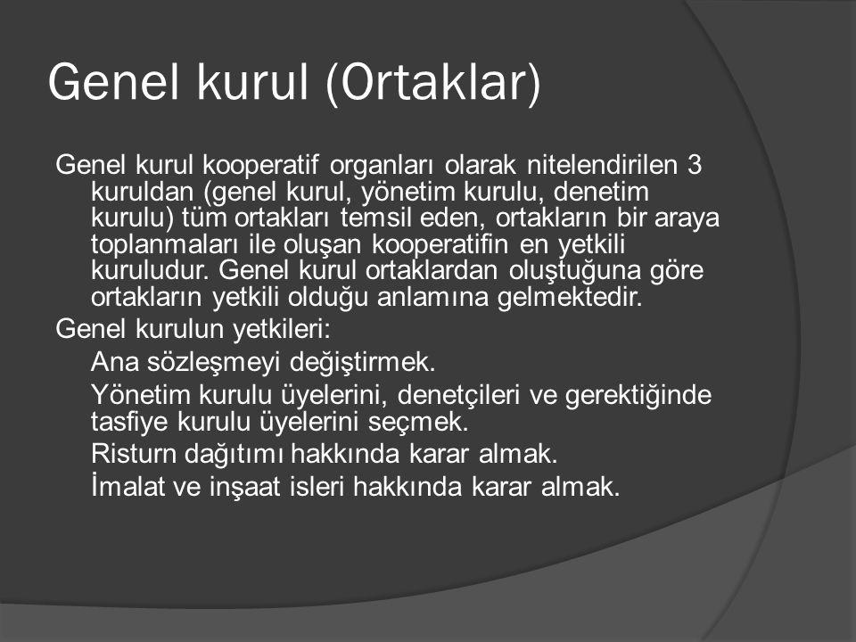 Genel kurul (Ortaklar) Genel kurul kooperatif organları olarak nitelendirilen 3 kuruldan (genel kurul, yönetim kurulu, denetim kurulu) tüm ortakları t