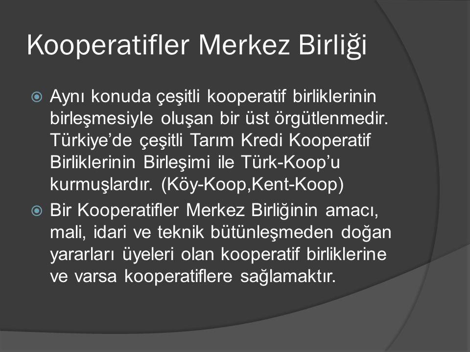 Kooperatifler Merkez Birliği  Aynı konuda çeşitli kooperatif birliklerinin birleşmesiyle oluşan bir üst örgütlenmedir. Türkiye'de çeşitli Tarım Kredi