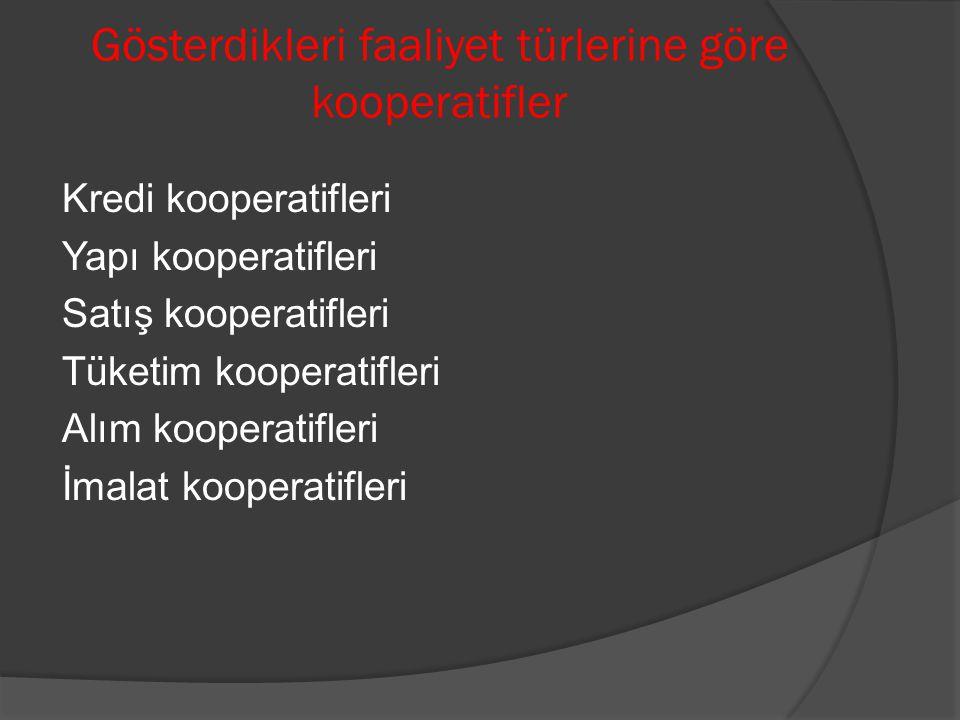 Gösterdikleri faaliyet türlerine göre kooperatifler Kredi kooperatifleri Yapı kooperatifleri Satış kooperatifleri Tüketim kooperatifleri Alım kooperat