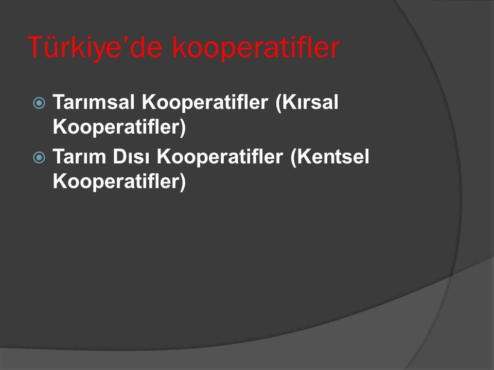 Türkiye'de kooperatifler  Tarımsal Kooperatifler (Kırsal Kooperatifler)  Tarım Dısı Kooperatifler (Kentsel Kooperatifler)