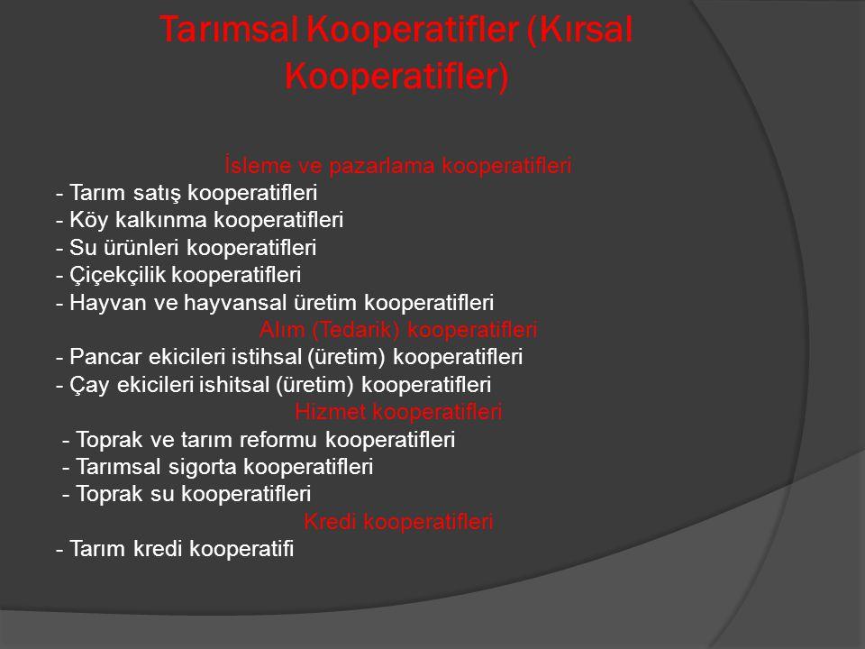 Tarımsal Kooperatifler (Kırsal Kooperatifler) İsleme ve pazarlama kooperatifleri - Tarım satış kooperatifleri - Köy kalkınma kooperatifleri - Su ürünl