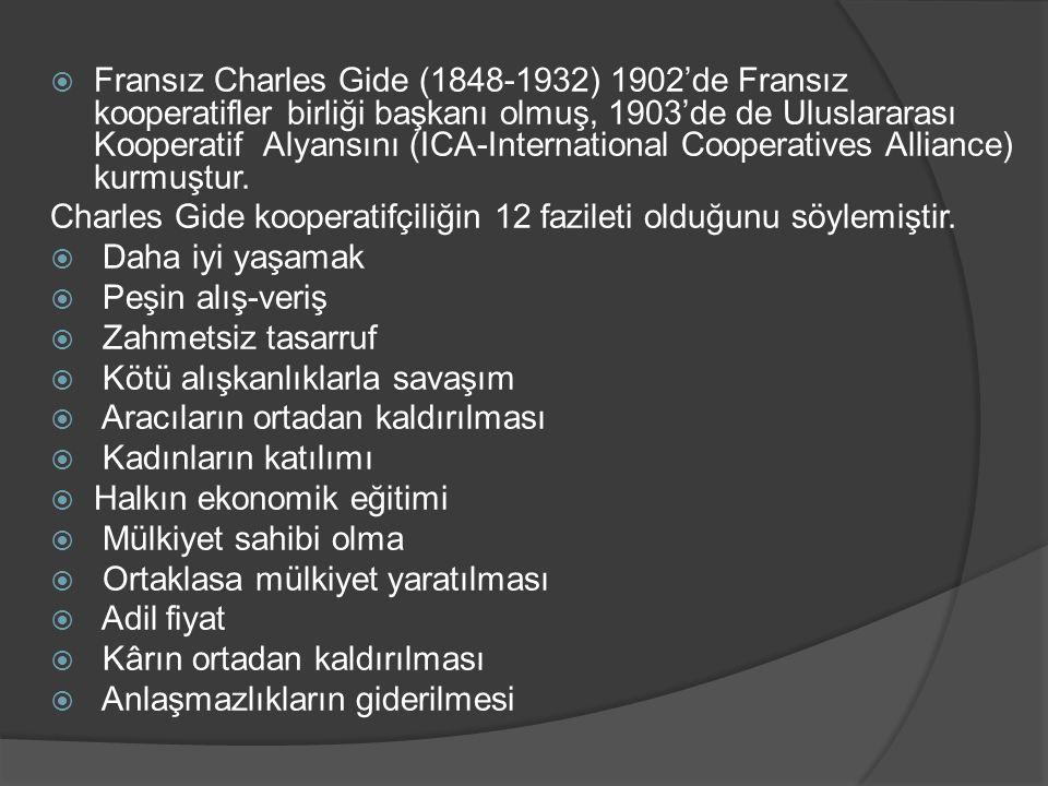  Fransız Charles Gide (1848-1932) 1902'de Fransız kooperatifler birliği başkanı olmuş, 1903'de de Uluslararası Kooperatif Alyansını (ICA-Internationa
