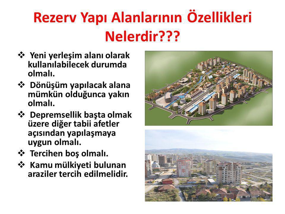 Rezerv Yapı Alanlarının Özellikleri Nelerdir???  Yeni yerleşim alanı olarak kullanılabilecek durumda olmalı.  Dönüşüm yapılacak alana mümkün olduğun