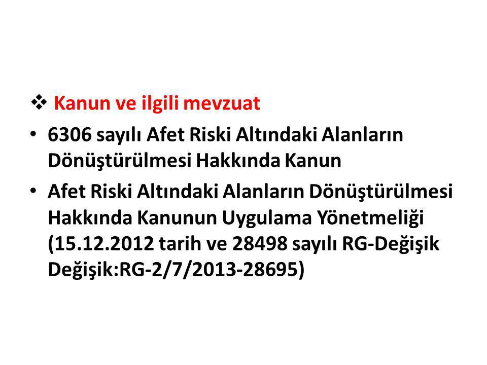  Kanun ve ilgili mevzuat • 6306 sayılı Afet Riski Altındaki Alanların Dönüştürülmesi Hakkında Kanun • Afet Riski Altındaki Alanların Dönüştürülmesi H
