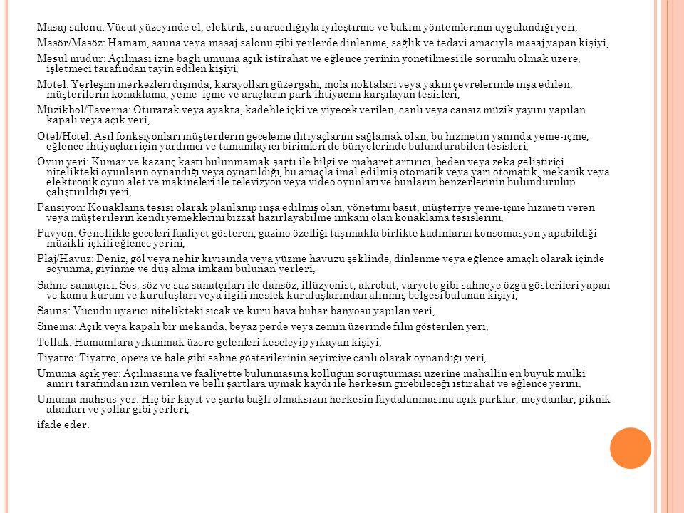 İKİNCİ KISIM : İÇKİLİ YERLER BİRİNCİ BÖLÜM : İÇKİLİ YER BÖLGESİ TESPİT KOMİSYONU TEŞKİLİ, İÇKİLİ YER BÖLGESİ TESPİT ESASLARI İÇKİLİ YER BÖLGESİ TESPİT KOMİSYONUNUN TEŞKİLİ Madde 5 - İçkili yer bölgesi tespit komisyonu, ilde vali veya görevlendireceği bir vali yardımcısının, ilçede ise kaymakamın başkanlığında; a) Mahallin en büyük kolluk amiri, b) İllerde sağlık müdürünün, ilçelerde sağlık grup başkanının, c) Milli eğitim, kültür ve turizm müdürlerinin, d) Belediye başkanı veya yardımcısının (büyükşehirlerde büyükşehir ilçe veya alt kademe belediye başkanı veya yardımcısı), e) Karayolları bölge müdürlüğü, tekel baş müdürlüğü ve ticaret odasını temsilen birer yetkilinin, katılımı ile oluşur.