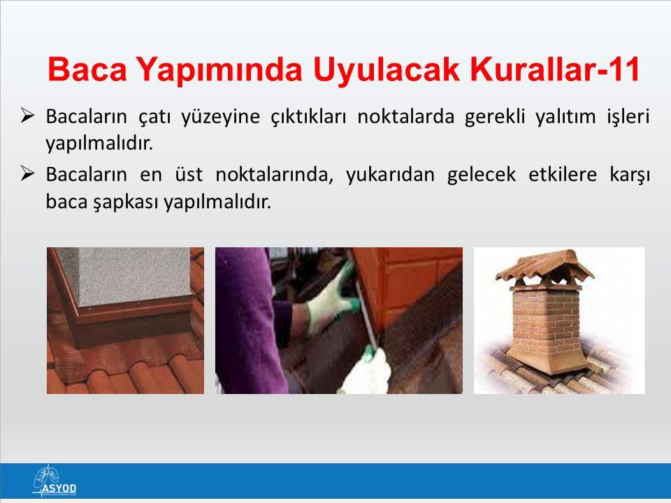 Baca Yapımında Uyulacak Kurallar-11  Bacaların çatı yüzeyine çıktıkları noktalarda gerekli yalıtım işleri yapılmalıdır.  Bacaların en üst noktaların