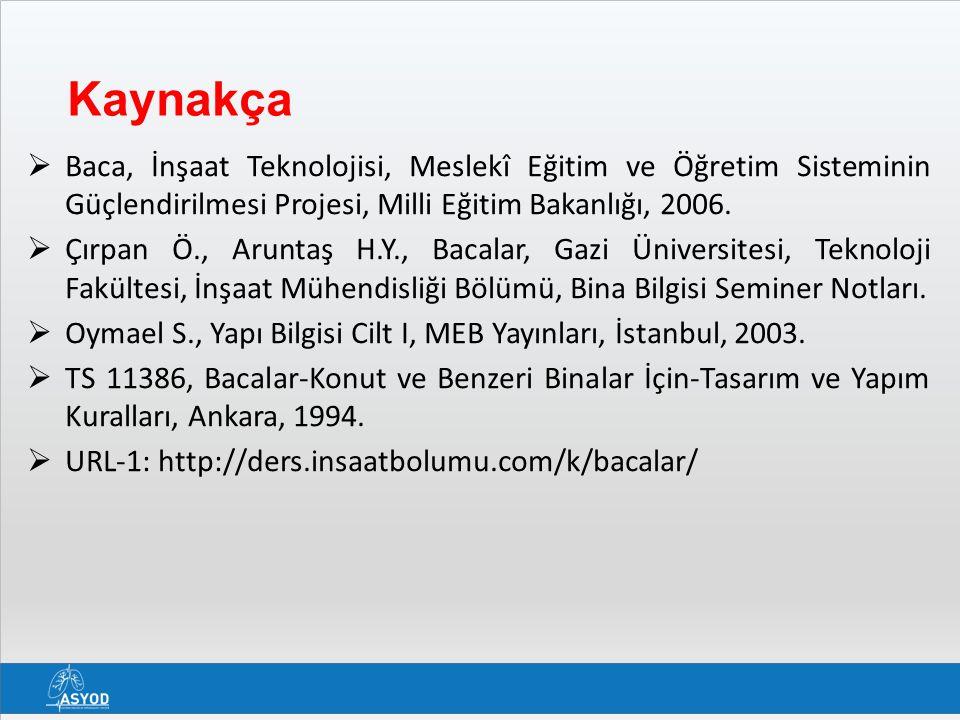 Kaynakça  Baca, İnşaat Teknolojisi, Meslekî Eğitim ve Öğretim Sisteminin Güçlendirilmesi Projesi, Milli Eğitim Bakanlığı, 2006.  Çırpan Ö., Aruntaş