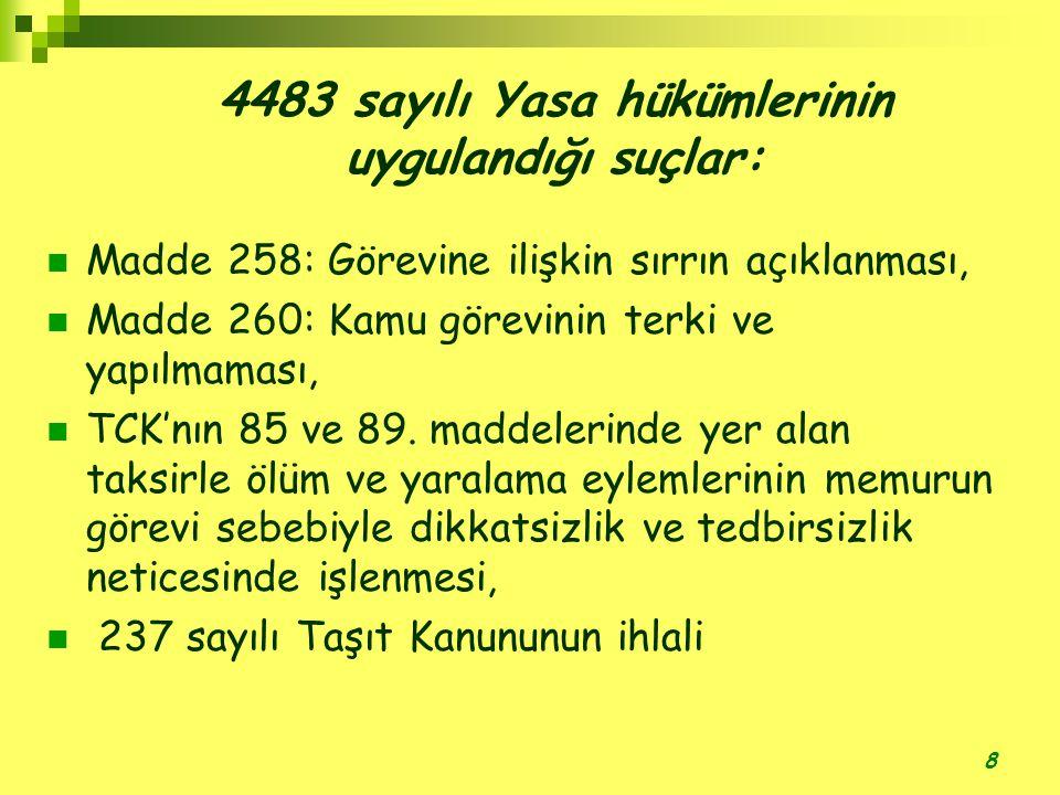 8 4483 sayılı Yasa hükümlerinin uygulandığı suçlar:  Madde 258: Görevine ilişkin sırrın açıklanması,  Madde 260: Kamu görevinin terki ve yapılmaması,  TCK'nın 85 ve 89.