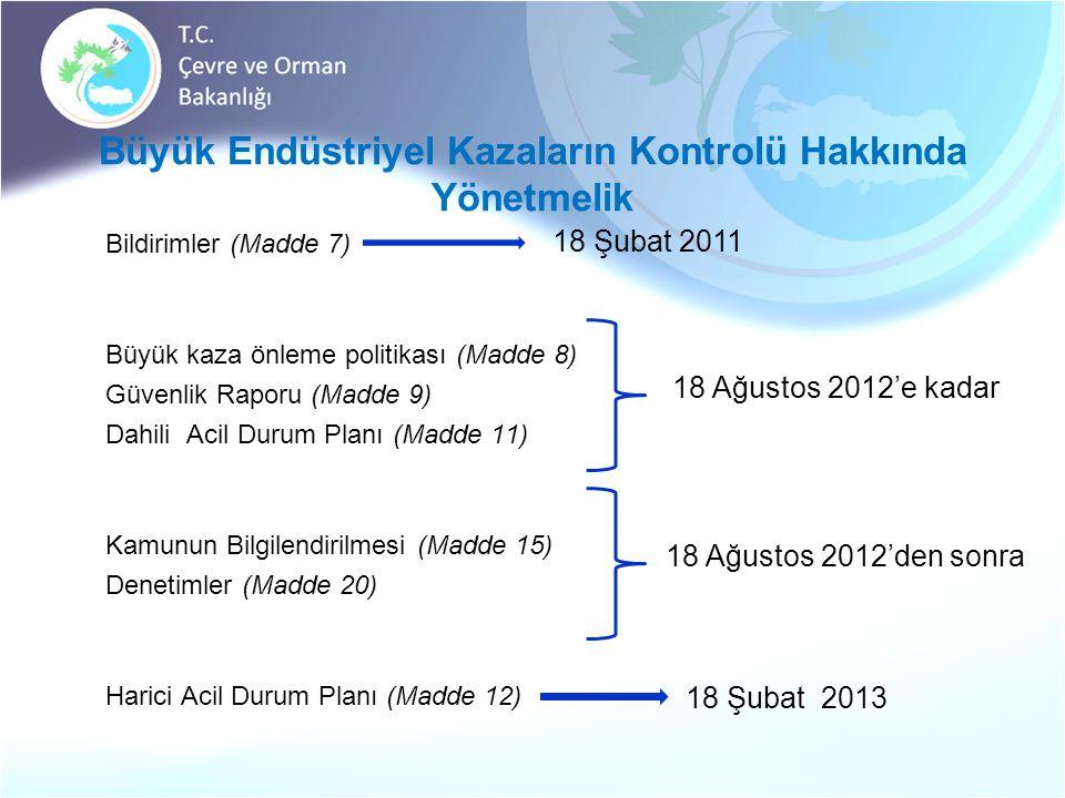 Büyük Endüstriyel Kazaların Kontrolü Hakkında Yönetmelik  Bildirimler (Madde 7)  Büyük kaza önleme politikası (Madde 8)  Güvenlik Raporu (Madde 9)  Dahili Acil Durum Planı (Madde 11)  Kamunun Bilgilendirilmesi (Madde 15)  Denetimler (Madde 20)  Harici Acil Durum Planı (Madde 12) 18 Ağustos 2012'e kadar 18 Şubat 2011 18 Şubat 2013 18 Ağustos 2012'den sonra