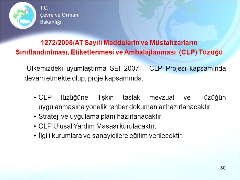 30 1272/2008/AT Sayılı Maddelerin ve Müstahzarların Sınıflandırılması, Etiketlenmesi ve Ambalajlanması (CLP) Tüzüğü -Ülkemizdeki uyumlaştırma SEI 2007 – CLP Projesi kapsamında devam etmekte olup, proje kapsamında: •CLP tüzüğüne ilişkin taslak mevzuat ve Tüzüğün uygulanmasına yönelik rehber dokümanlar hazırlanacaktır.
