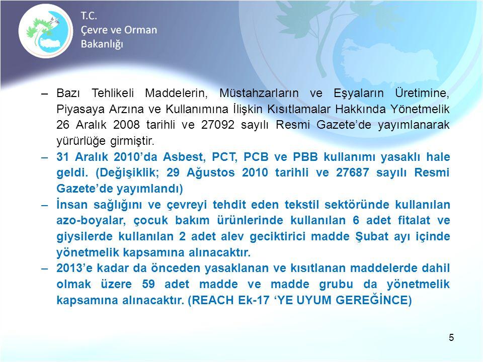 AB'YE UYUM ÇERÇEVESİNDE HEDEFLER –2011 ortalarında başlaması öngörülen Seveso-II Direktifi İçin Uygulama Kapasitesi isimli projenin 2013 yılı ortalarında tamamlanmasıyla birlikte; Yönetmeliğin uygulamasına ilişkin olarak, ÇOB ve ÇSGB Merkez teşkilatında yönetmeliğin uygulanmasından sorumlu olan personele, Belediye, İl özel idareleri, sanayi odaları, ilgili sivil toplum kuruluşlarına verilecek olan eğitimlerle; ilgili personelin yönetmeliğin uygulanması konusunda bilgilendirilmesi ve deneyim kazandırılması sağlanacaktır.