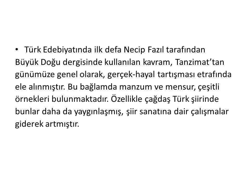 • Türk Edebiyatında ilk defa Necip Fazıl tarafından Büyük Doğu dergisinde kullanılan kavram, Tanzimat'tan günümüze genel olarak, gerçek-hayal tartışma