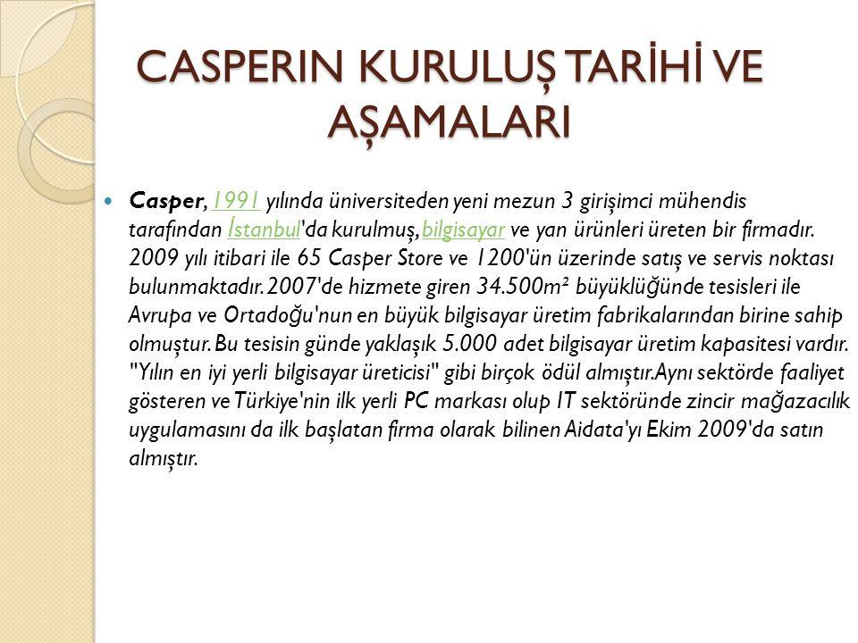 CASPERIN KURULUŞ TAR İ H İ VE AŞAMALARI  Casper, 1991 yılında üniversiteden yeni mezun 3 girişimci mühendis tarafından İ stanbul da kurulmuş, bilgisayar ve yan ürünleri üreten bir firmadır.